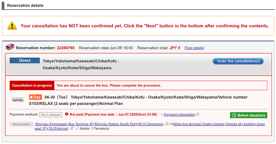 Check your reservation details and payment information again, and then click the 'Cancel this content' button.
