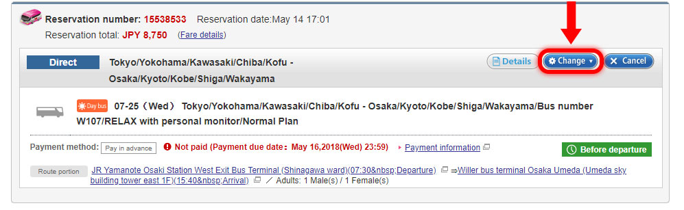 Click 'Change' and choose 'Change the boarding date / bus number'.